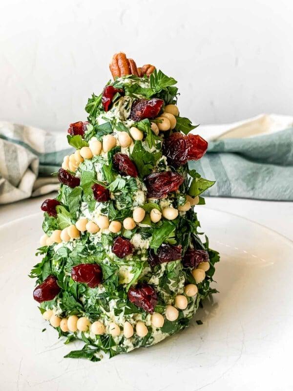 Christmas tree cheese ball on a plate