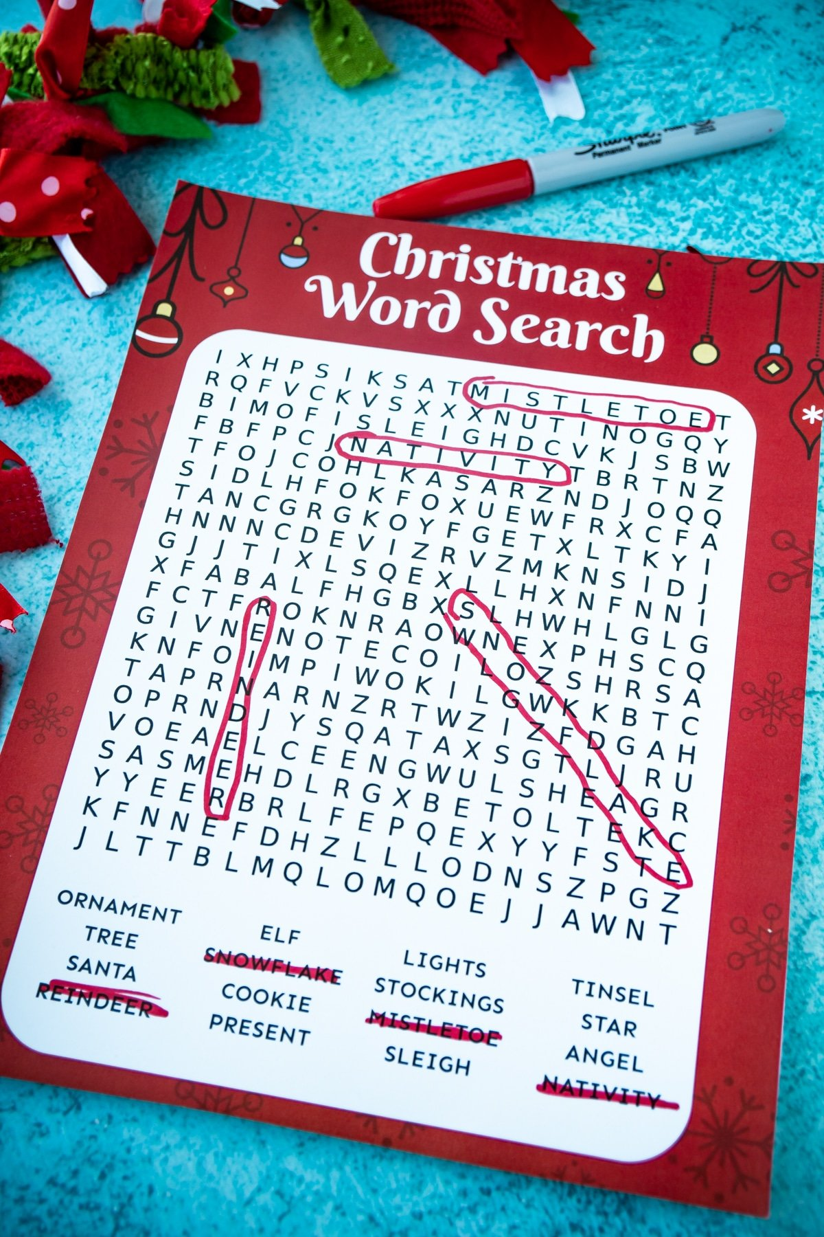 Christmas word search on a blue background