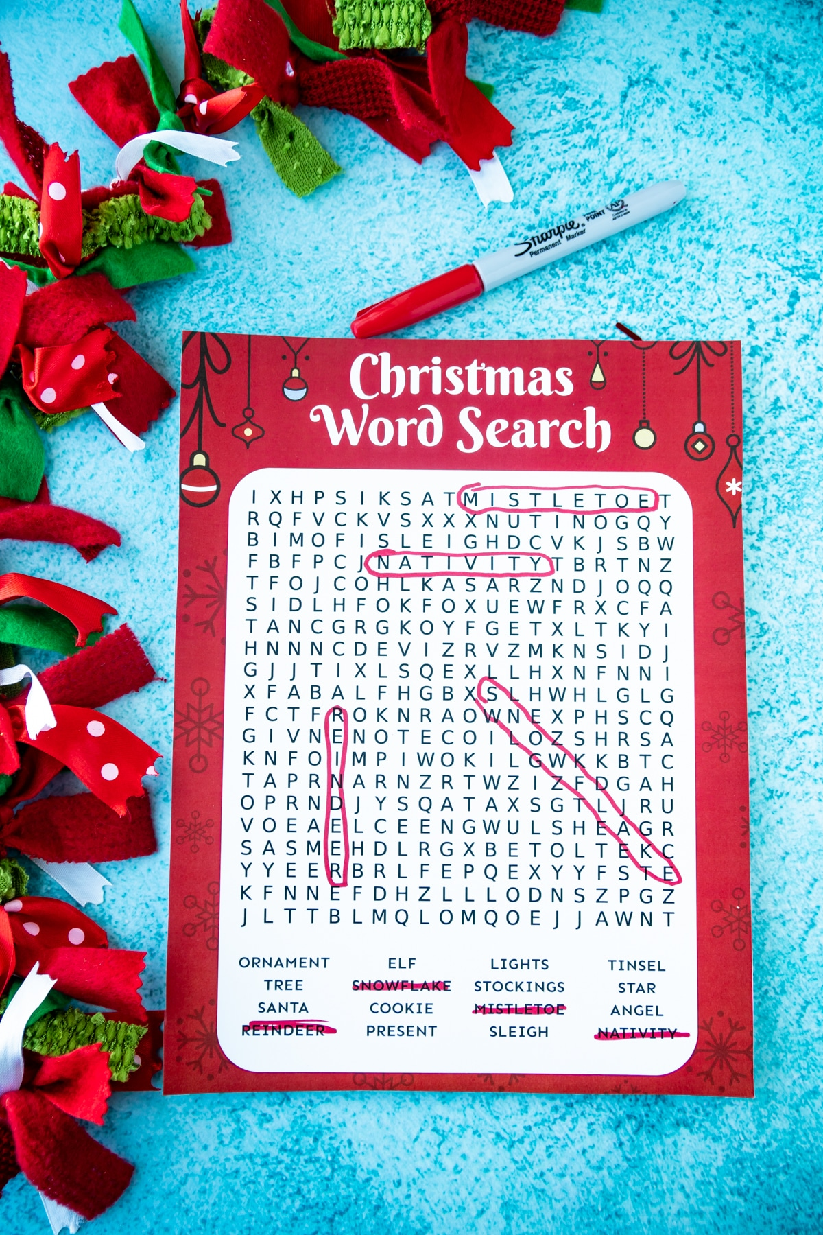 Christmas word search with words circled