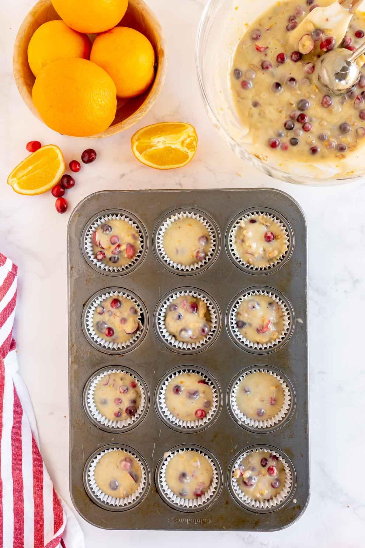 Cranberry orange muffins ready to go into oven