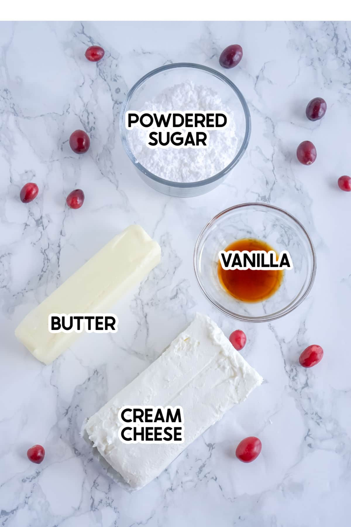 Ingredients for cream cheese frosting with labels