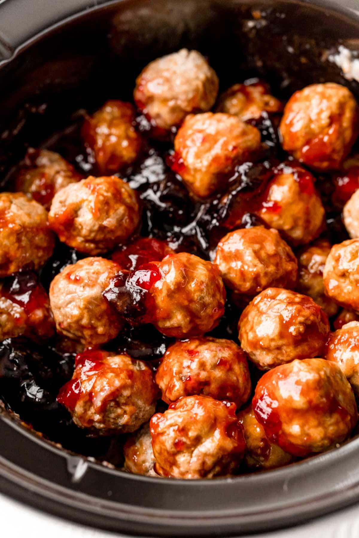 Grape jelly meatballs in a crockpot