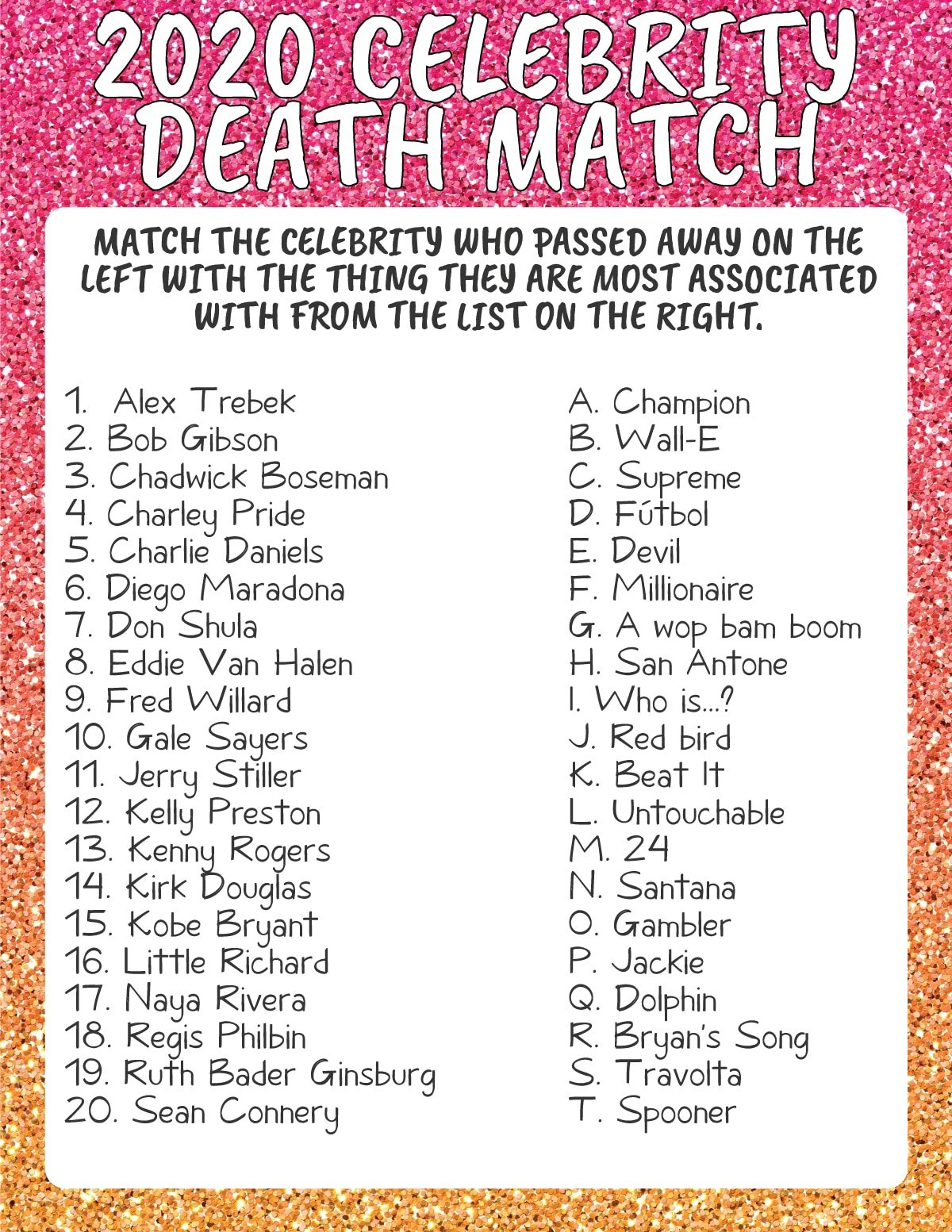 Celebrity death match game