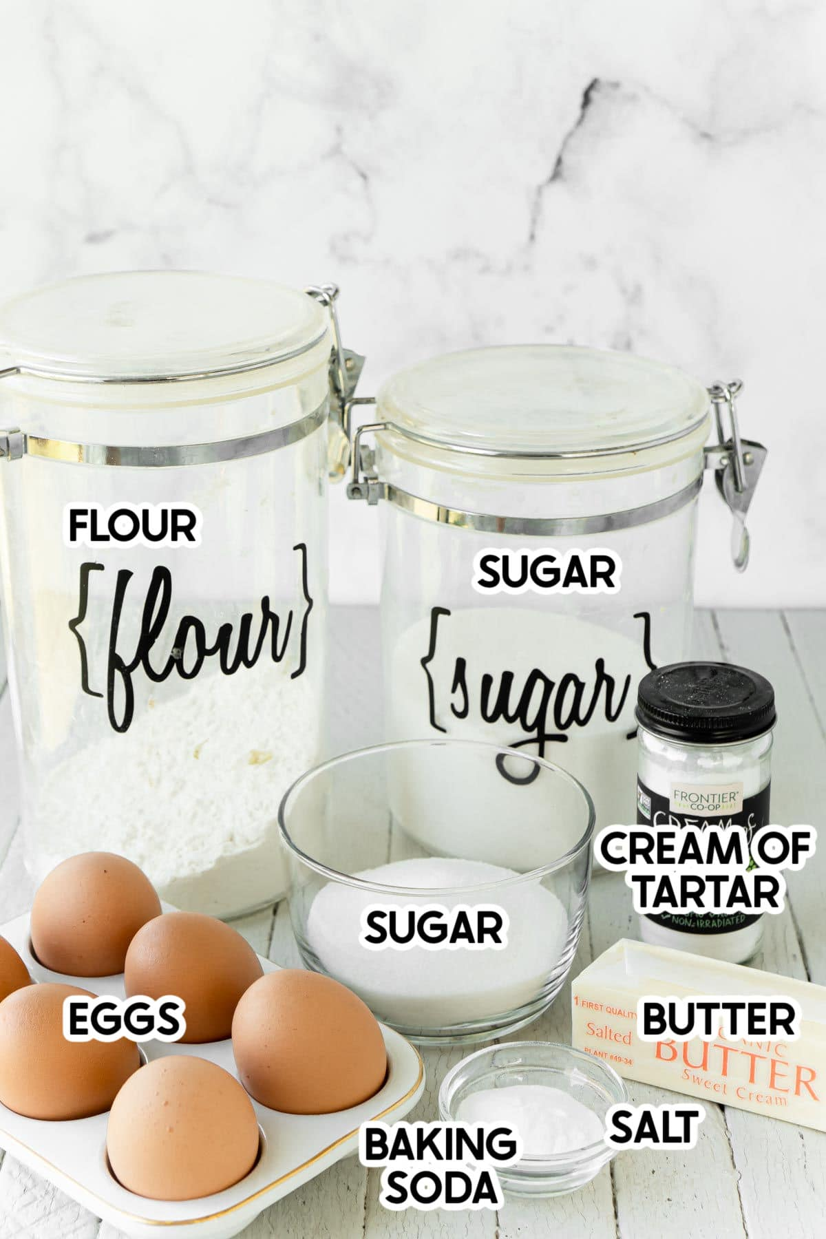 ingredients for snickerdoodles with labels