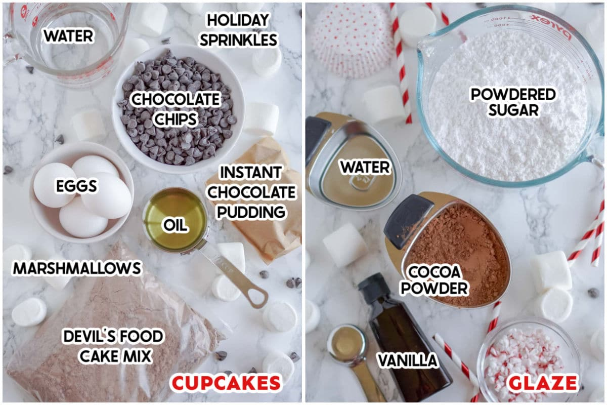 Ingredients needed to make hot chocolate cupcakes