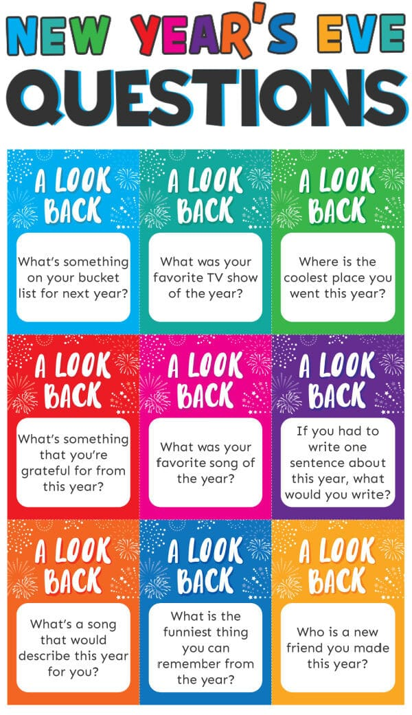New Year Questions on colorful cards