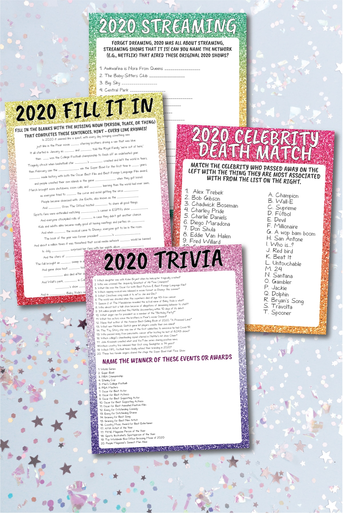 Four 2020 New Year's Eve trivia games