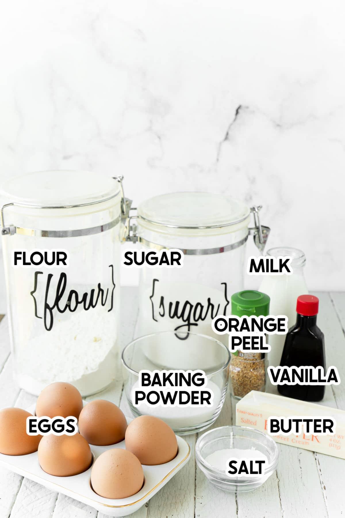 ingredients for orange sugar cookies with labels