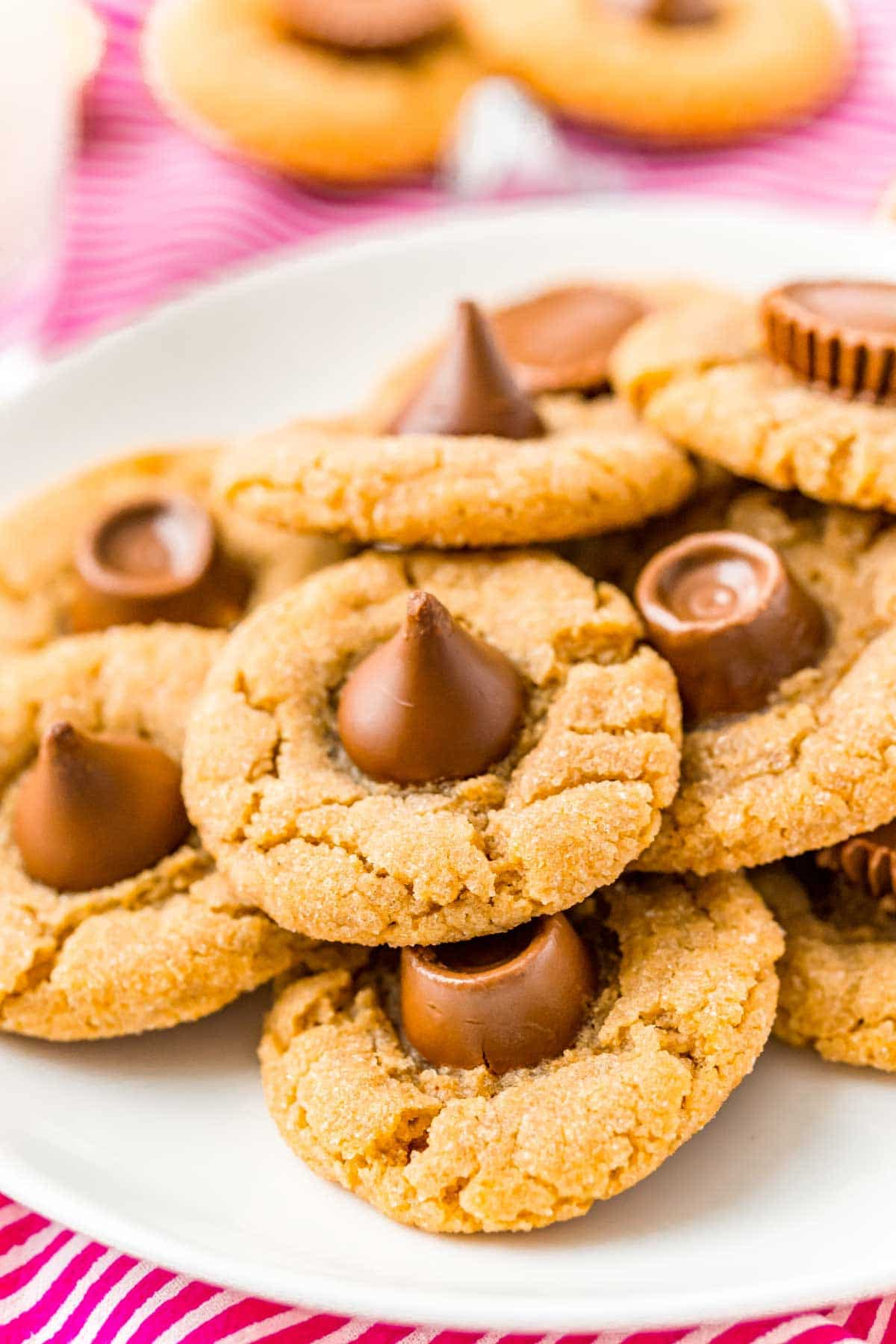 Plate full of peanut butter blossoms