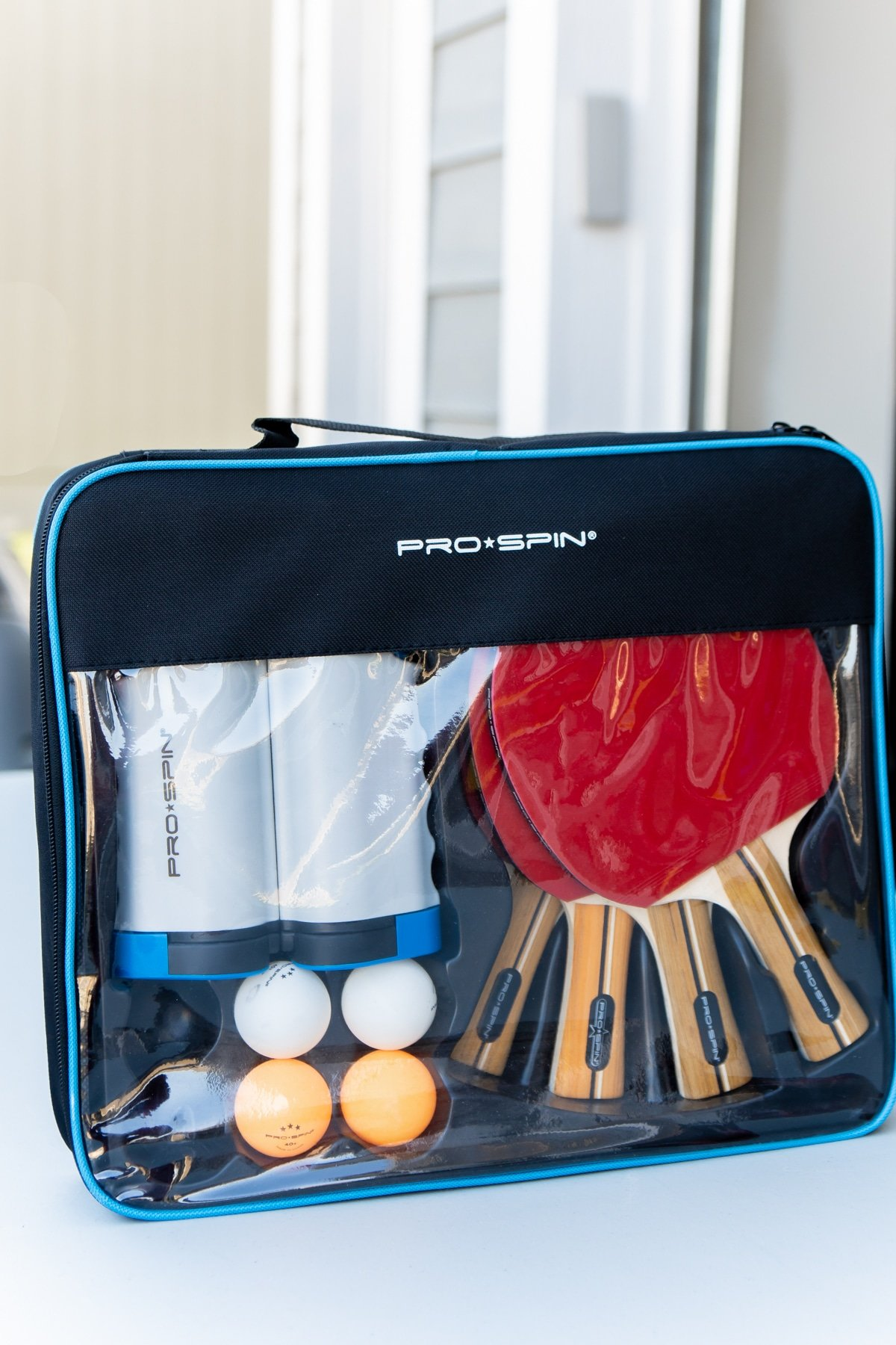 Ping pong table set in a carrying case
