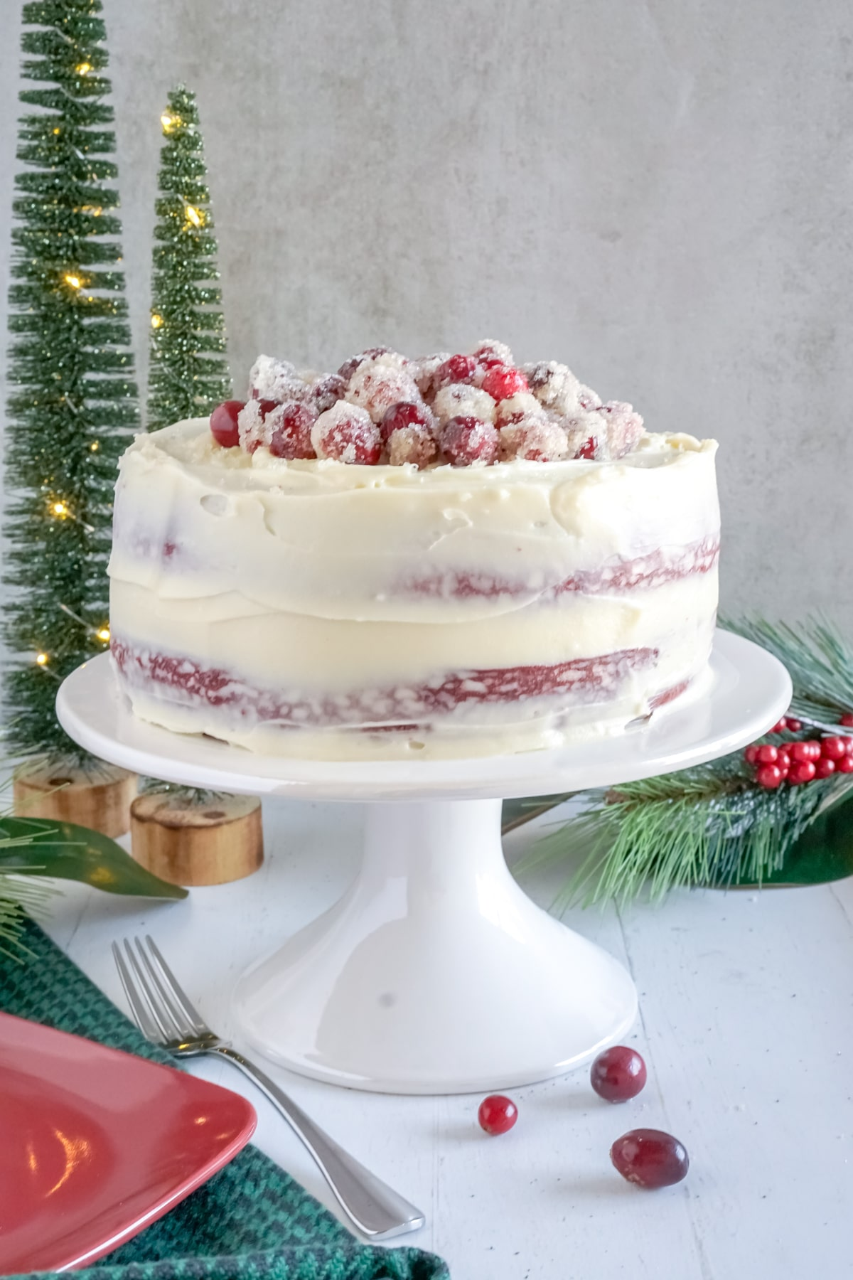 red velvet cake with sugared cranberries