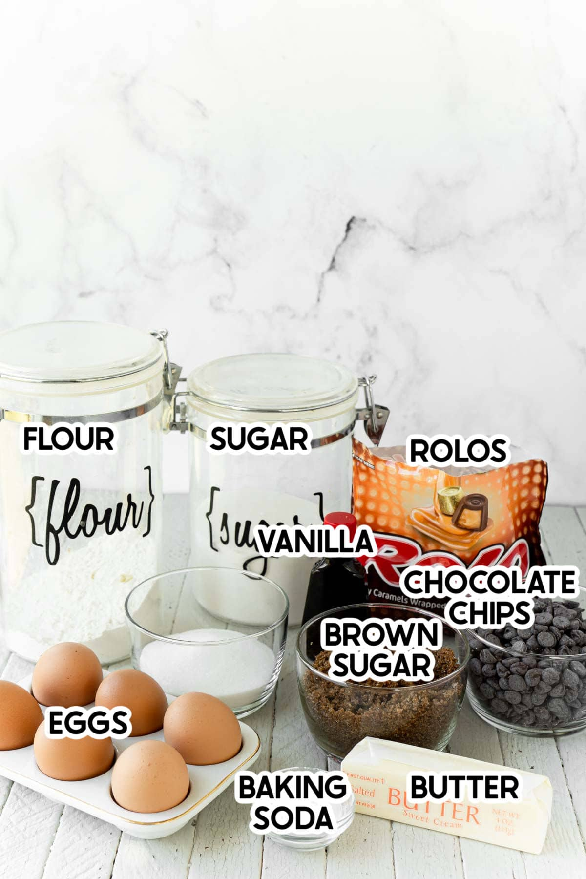 ingredients needed for rolo cookies with labels