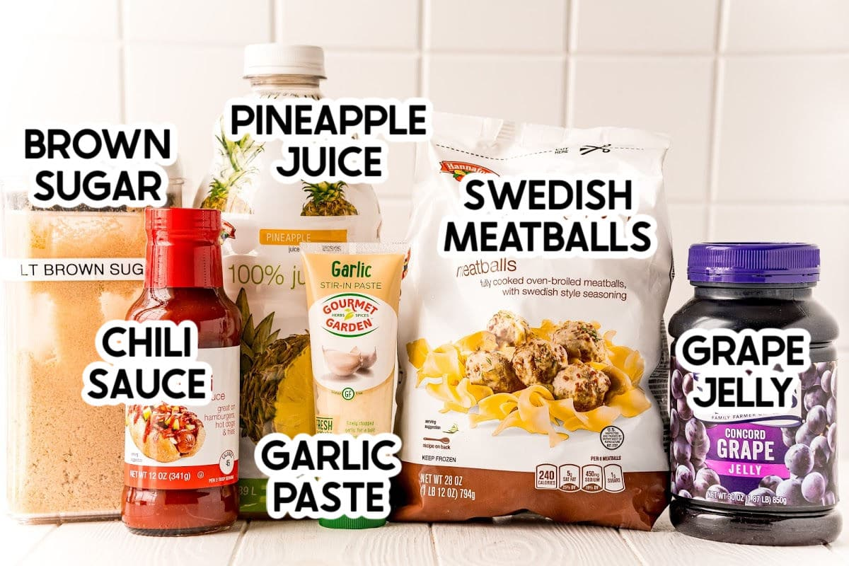 Ingredients needed to make crockpot grape jelly meatballs