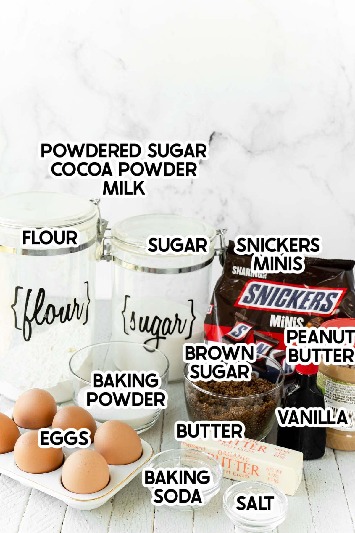 Ingredients to make Snicker cookies with labels