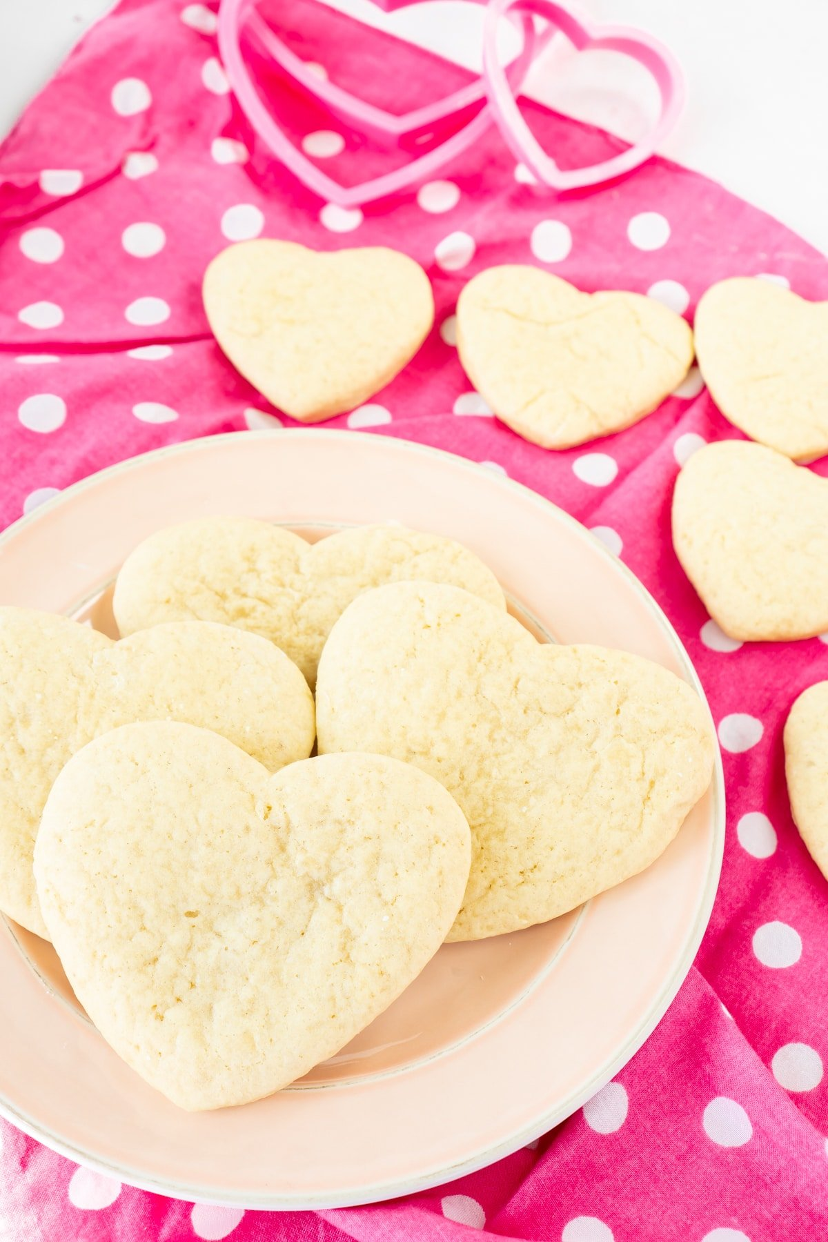 Plate with heart shaped cut out sugar cookies