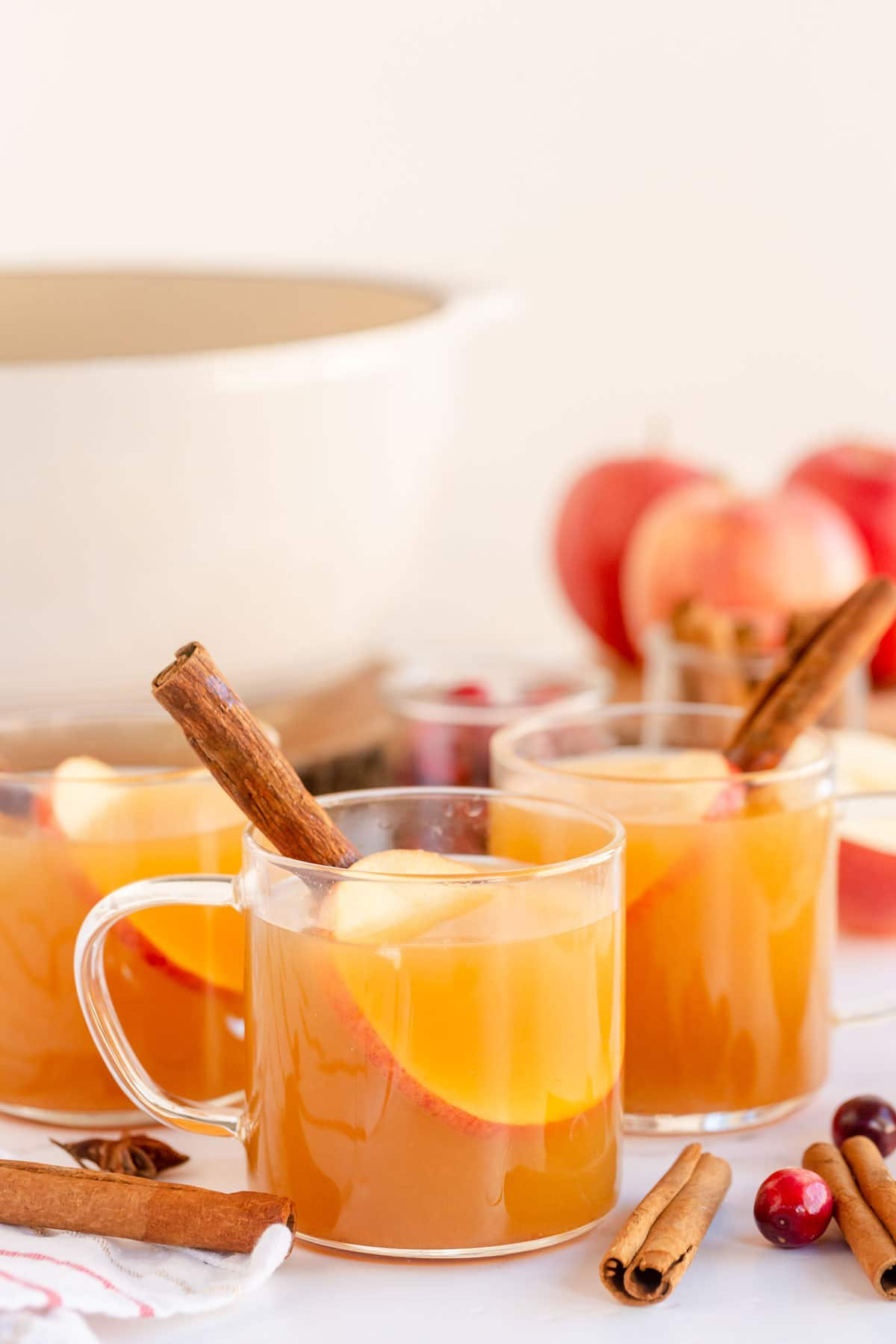 Glass mugs with spiced apple cider