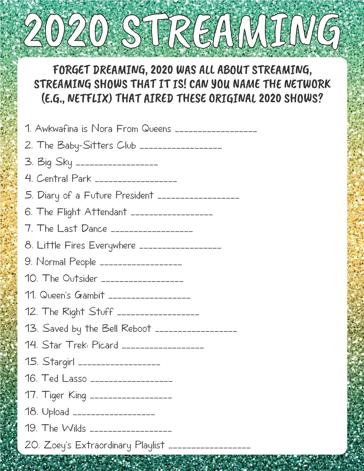 2020 streaming New Year's Eve trivia game