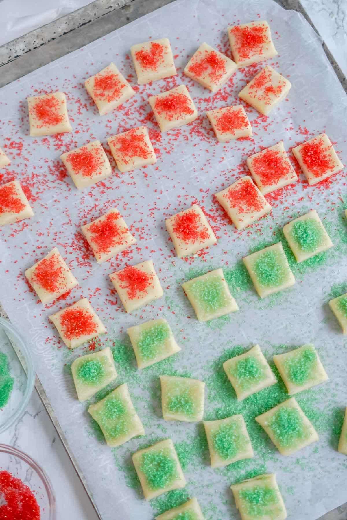baking sheet full of Christmas sugar cookie bites