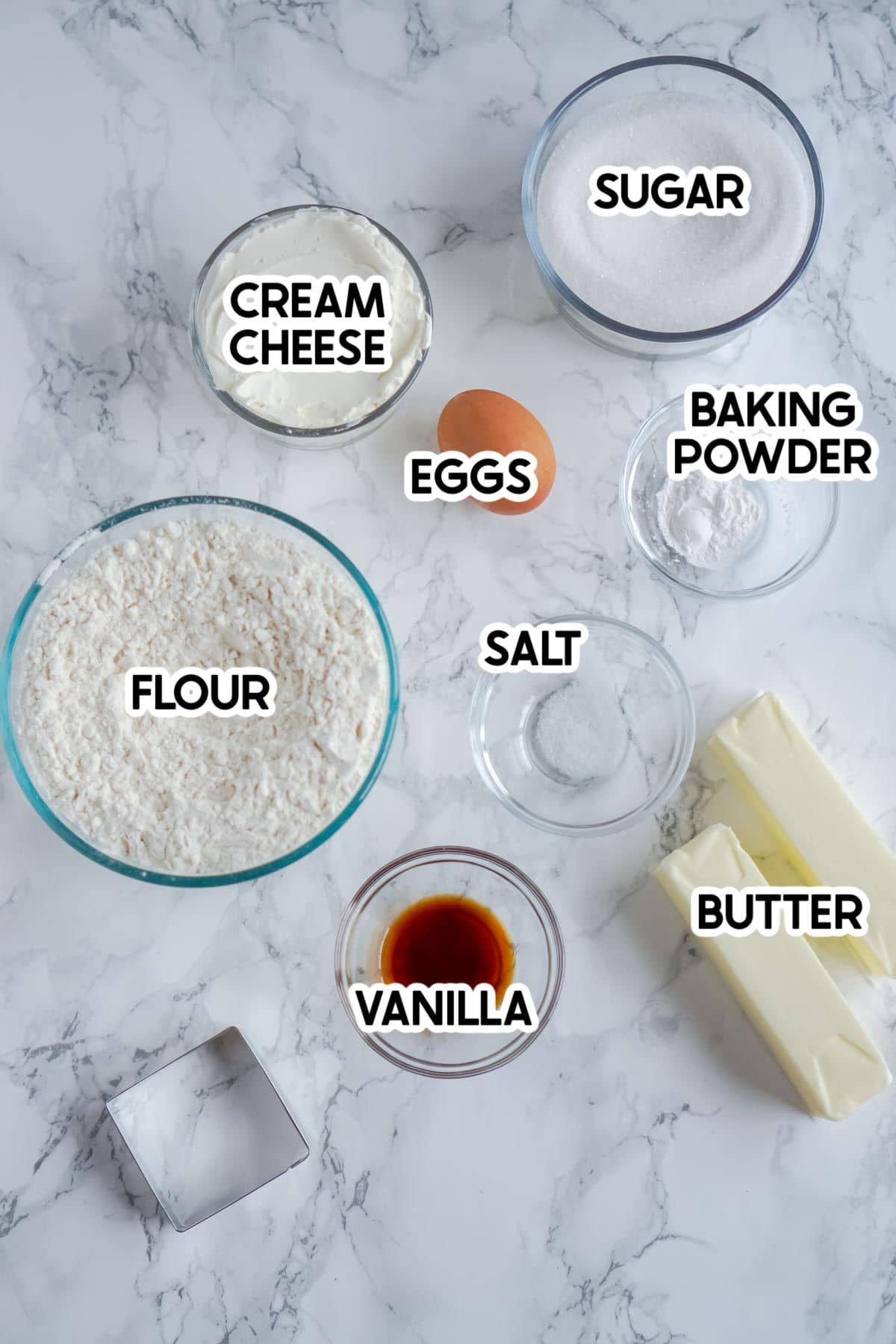 ingredients needed to make cream cheese sugar cookies with labels