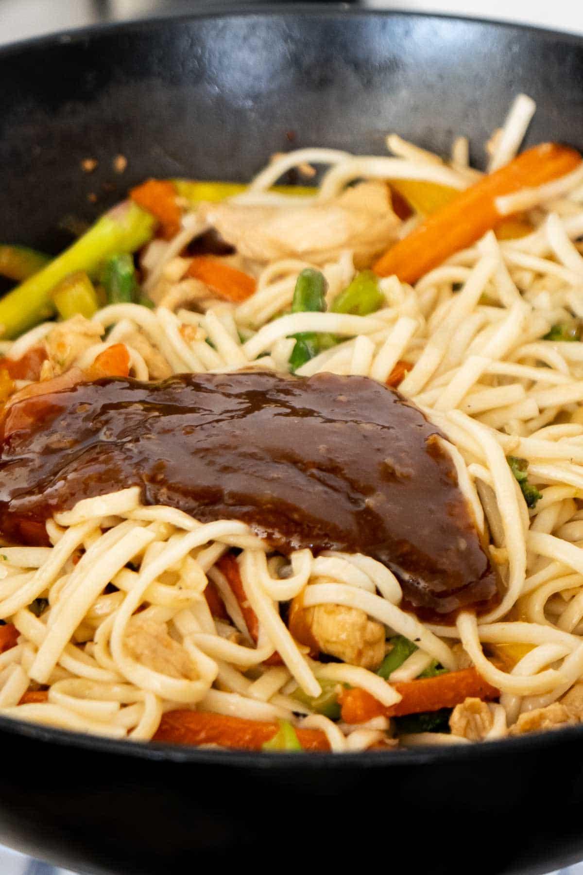 Teriyaki sauce in a teriyaki chicken stir fry
