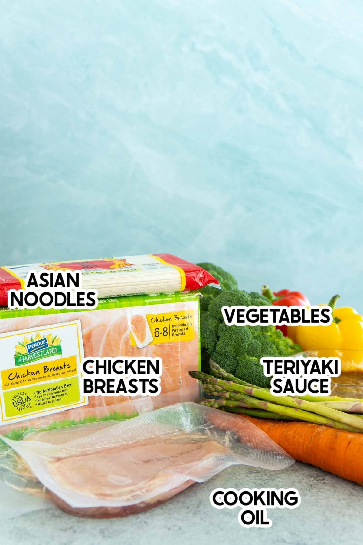 Ingredients needed to make teriyaki chicken stir fry with labels