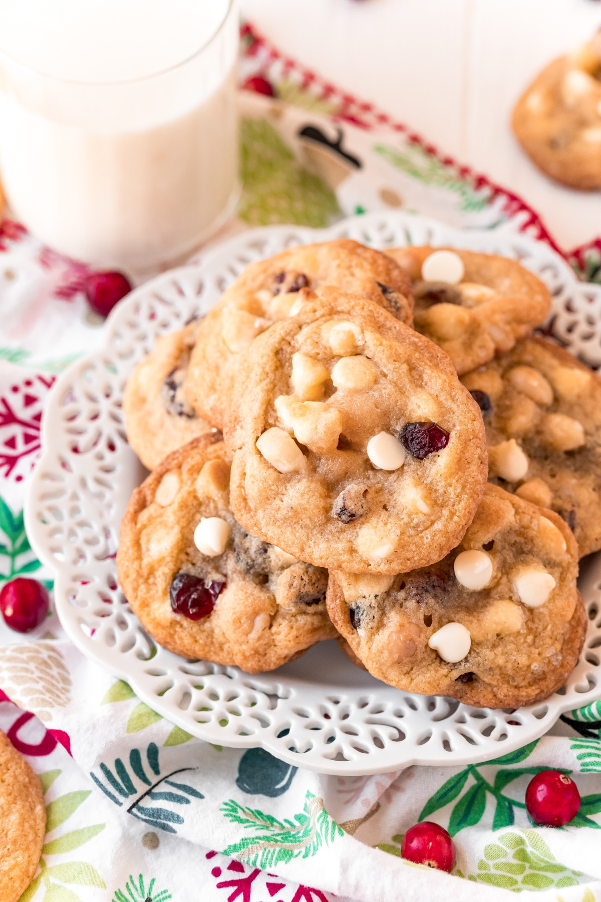 A pile of white chocolate cranberry cookies