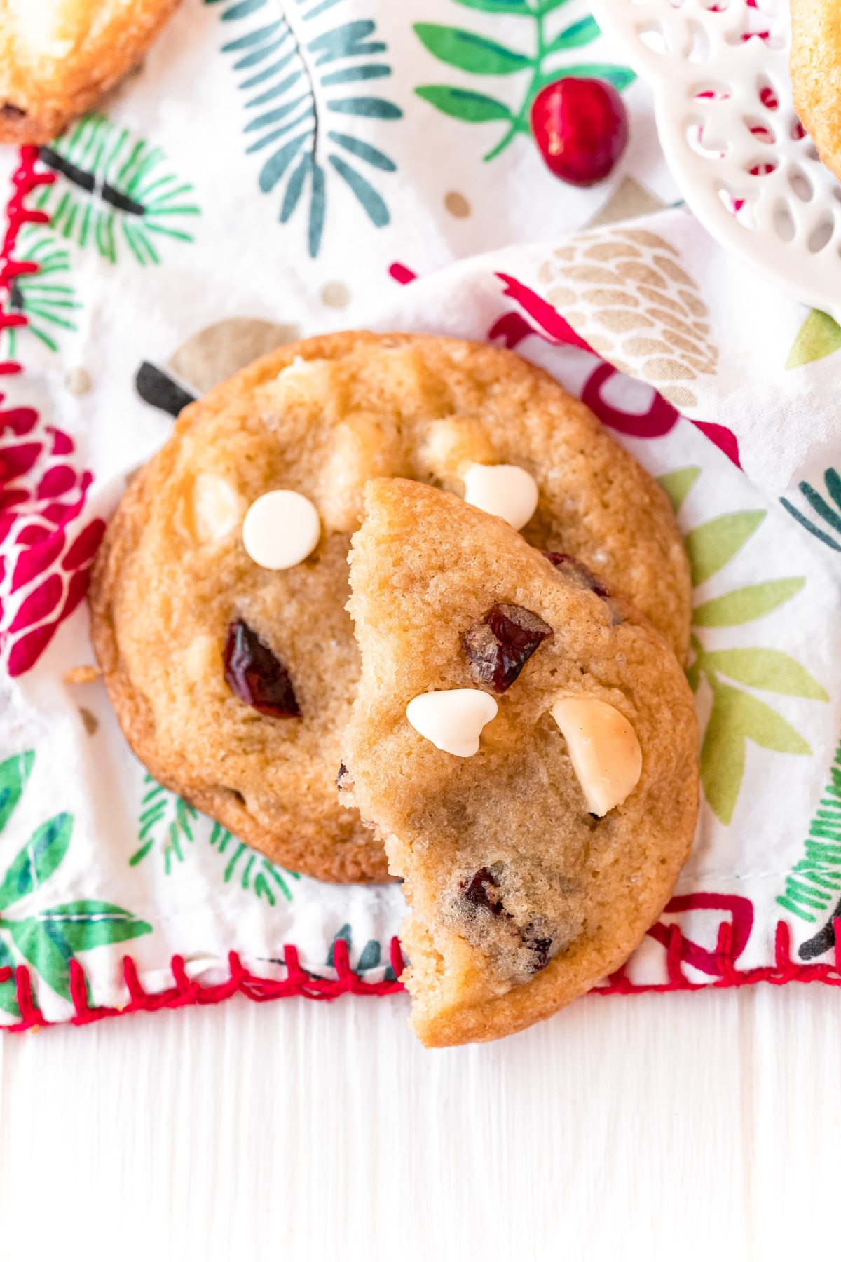 Two white chocolate cranberry cookies