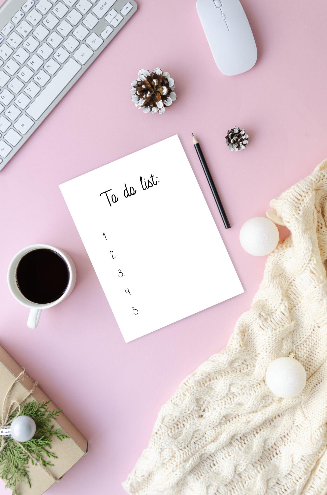 Pink desktop with a white checklist