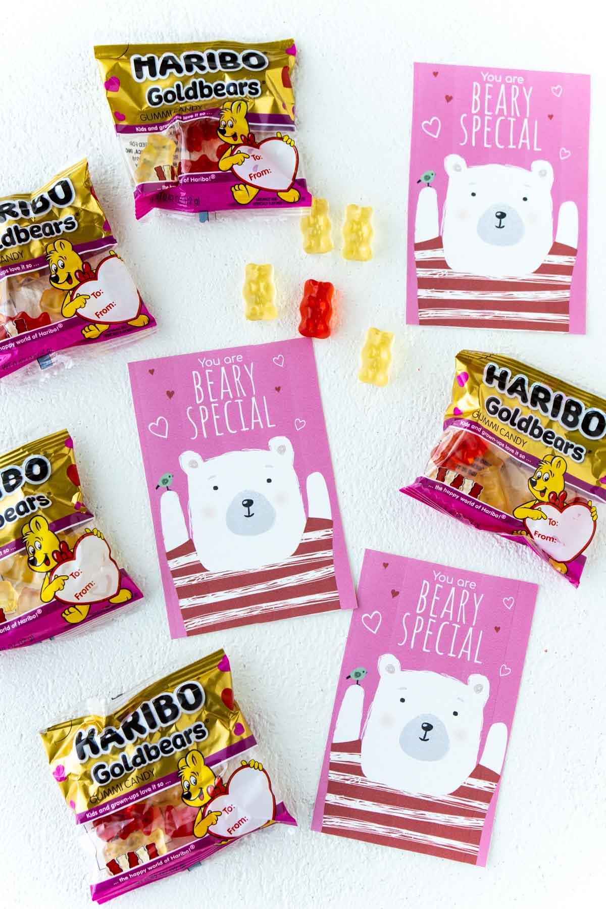 three bear valentines with gummy bears
