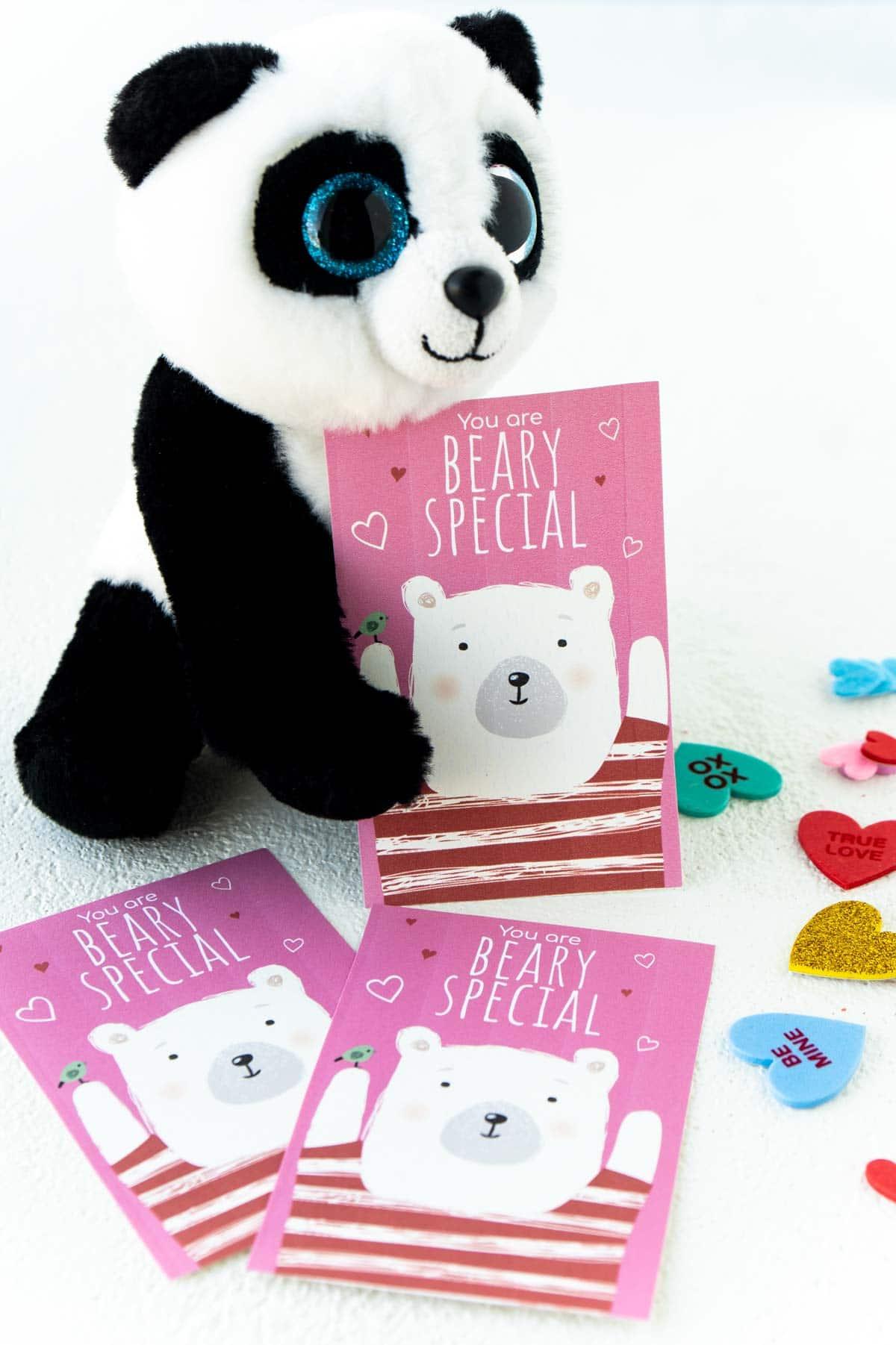Bear valentine with a stuffed panda bear