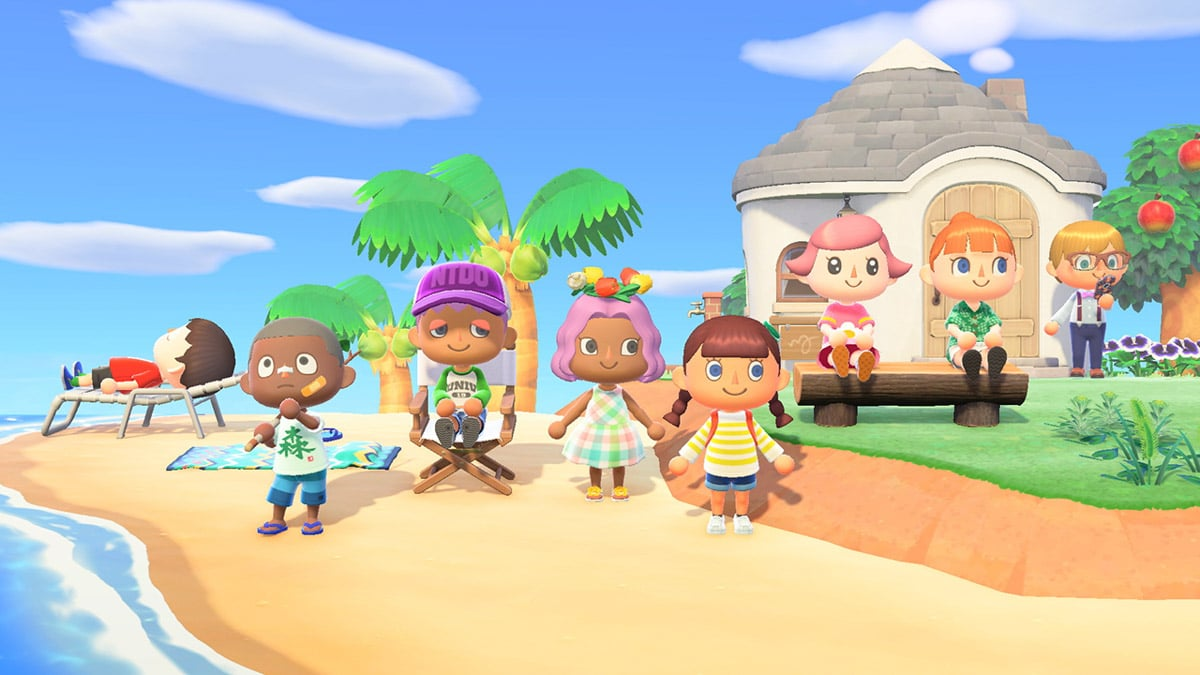 People on an island in Animal Crossing