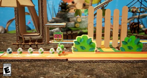 Yoshi playing in his crafted world