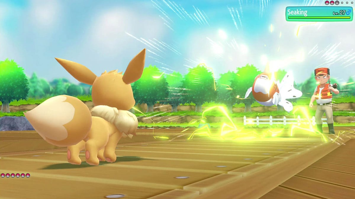 Eevee in a battle with another pokemon
