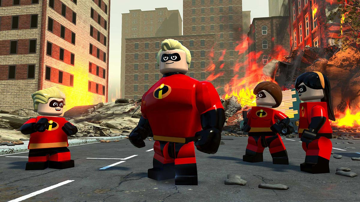 Lego Incredibles standing in a street