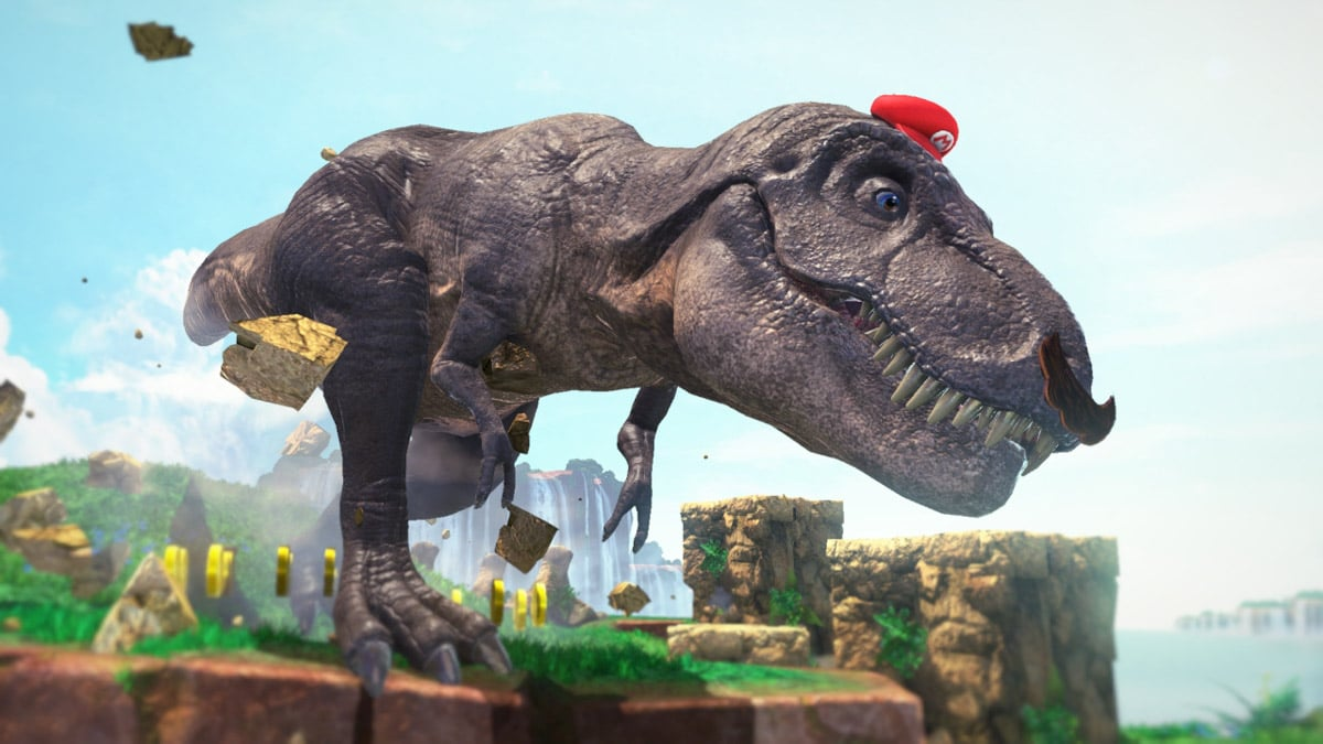 Dinosaur wearing Mario's cappy hat
