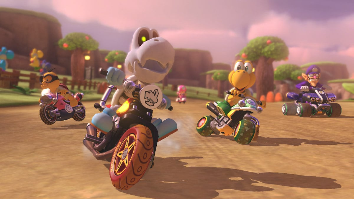 Characters racing in Super Mario Kart