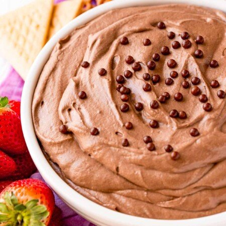 Brownie batter dip in a white bowl