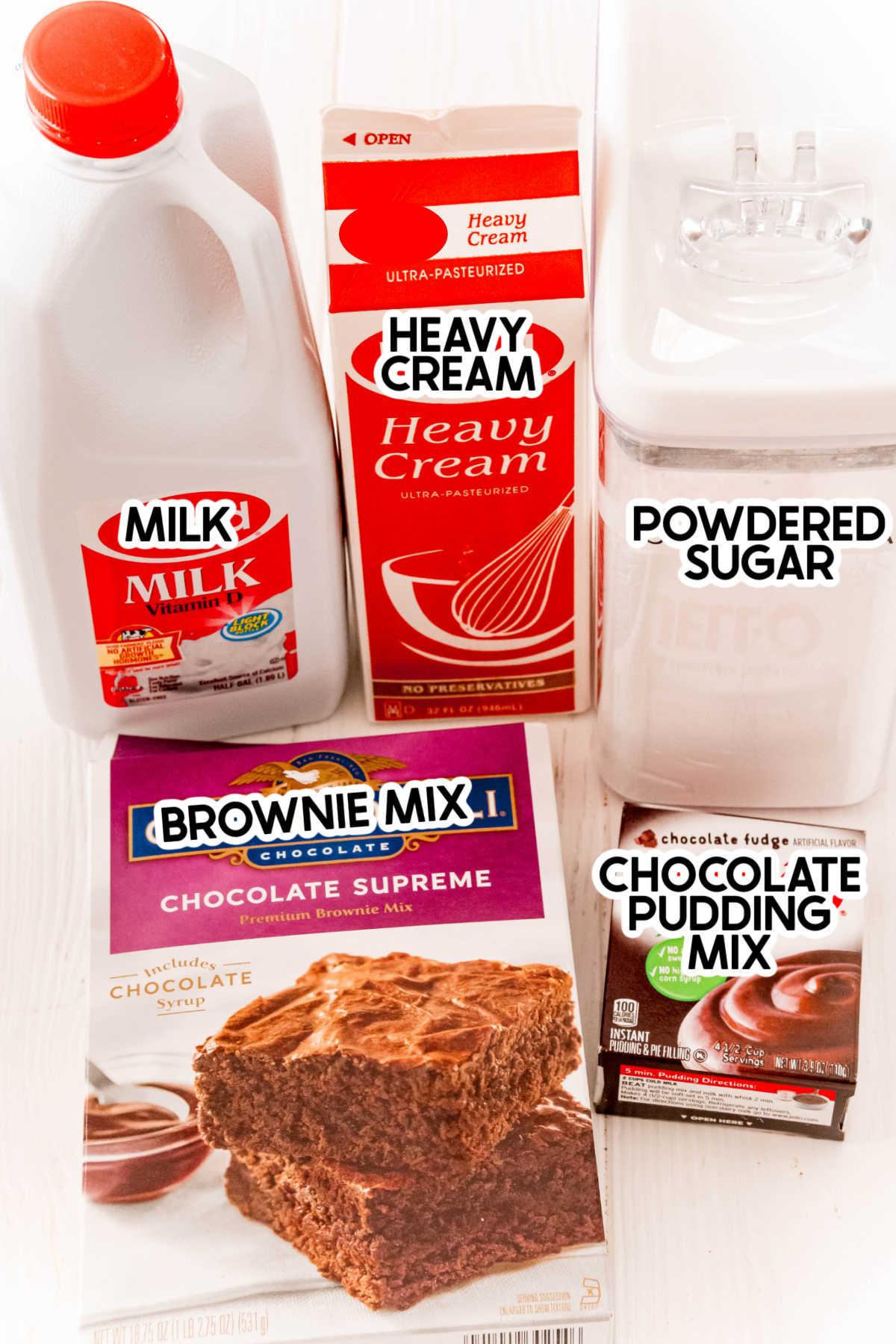 Ingredients to make a brownie batter dip