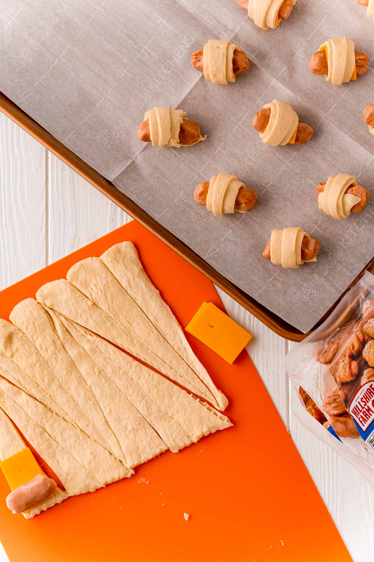 Crescent rolls cut into long skinny triangles