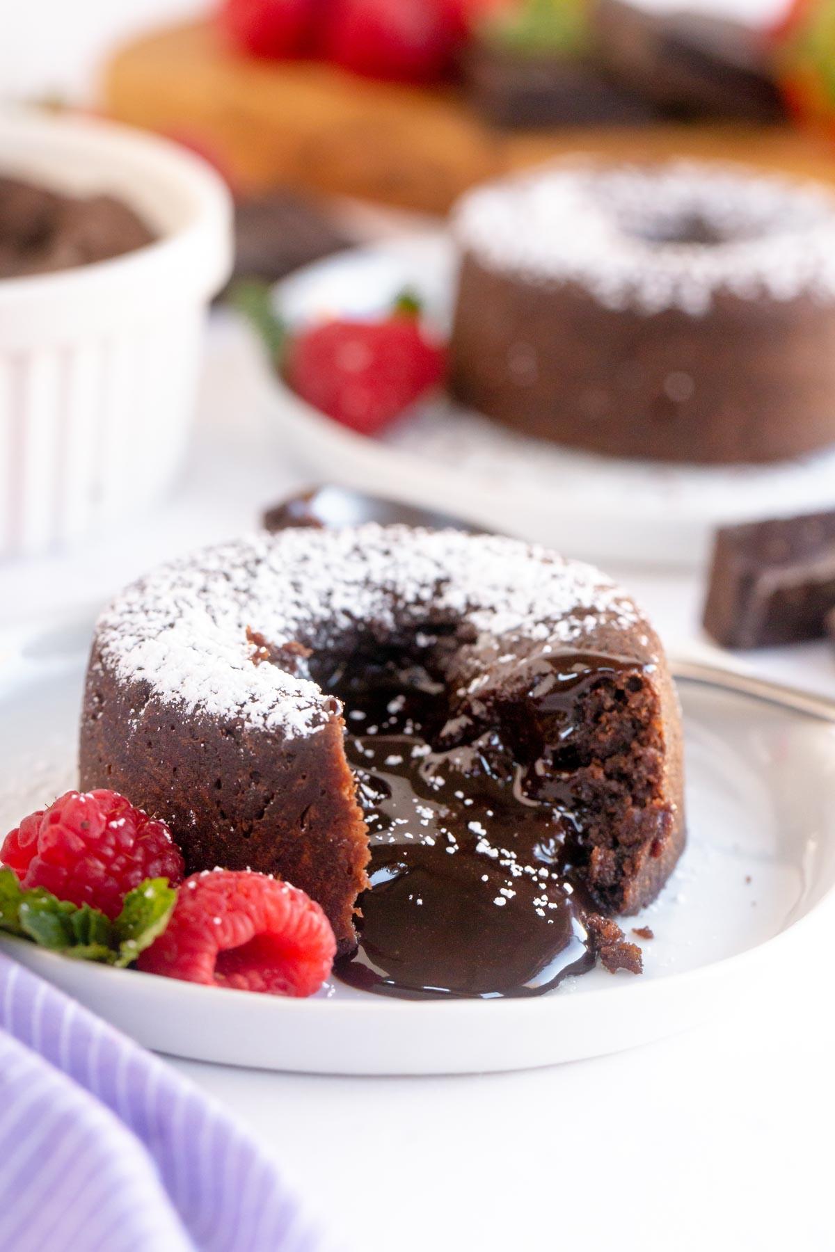 Chocolate lava cake on a white plate