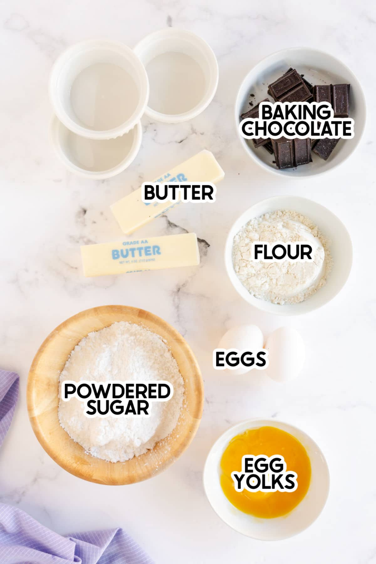 Ingredients needed for chocolate lava cake with labels