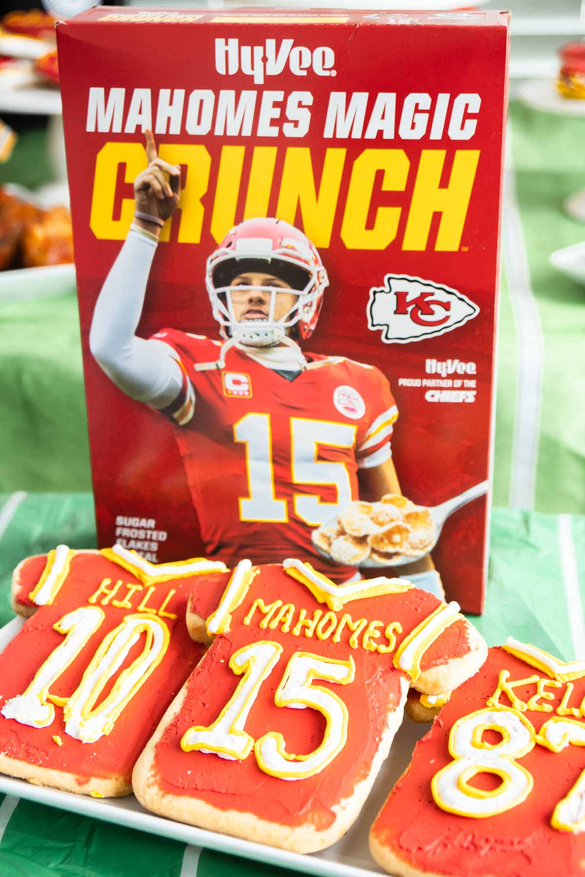Chiefs cookies and Mahomes cereal