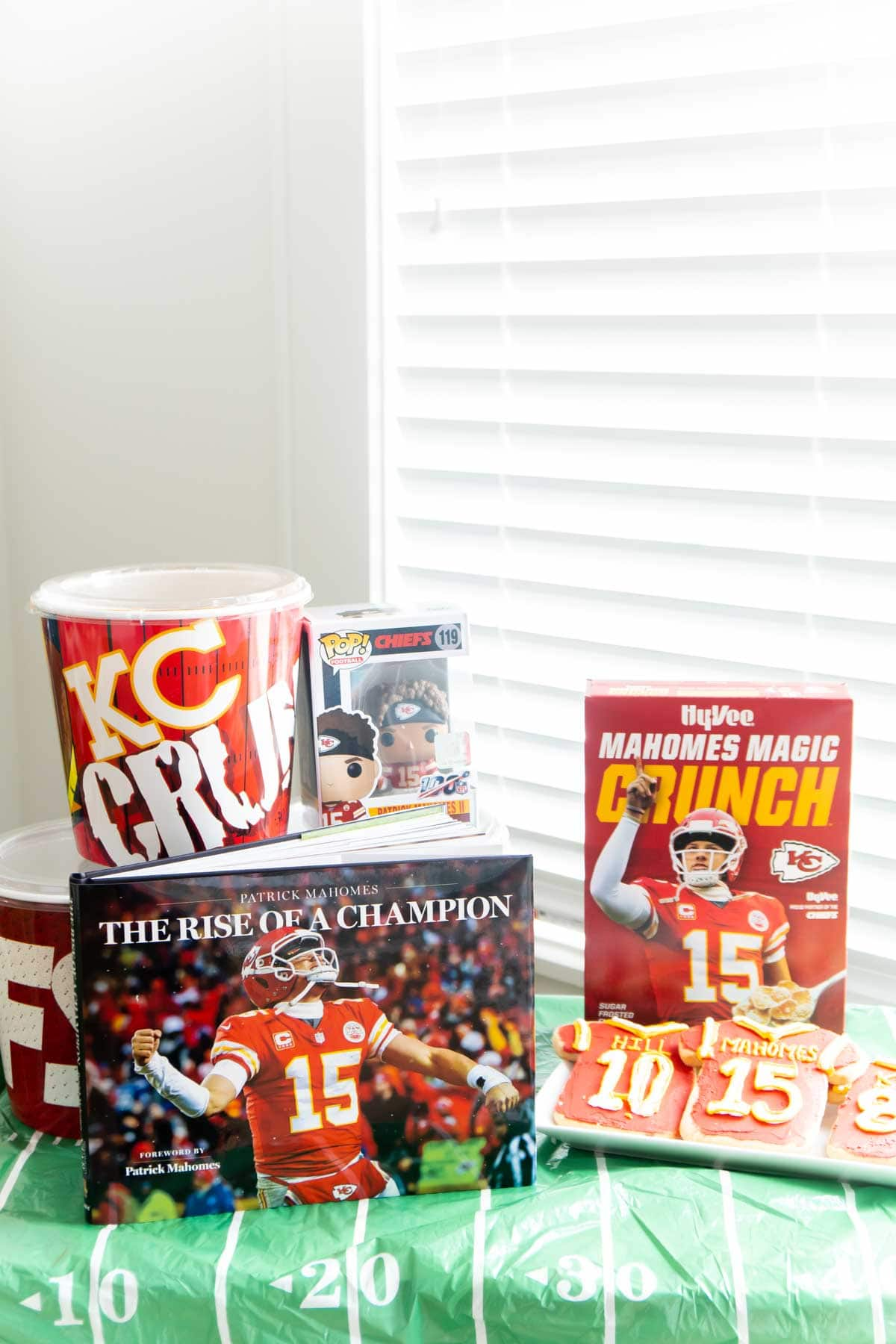 Kansas City Chiefs items on a table