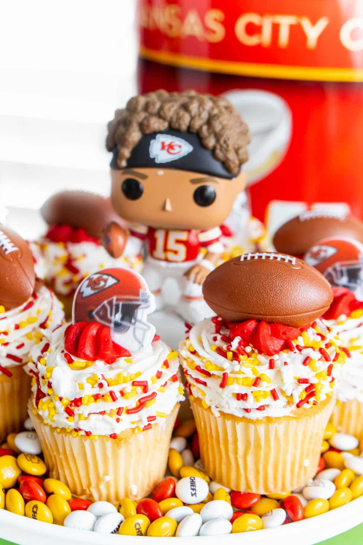 Chiefs cupcakes with Mahomes in the center