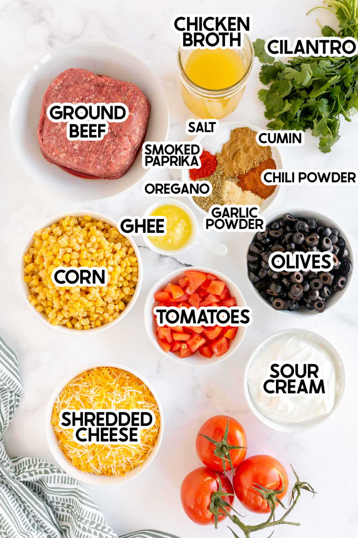 ingredients needed to make taco dip with labels