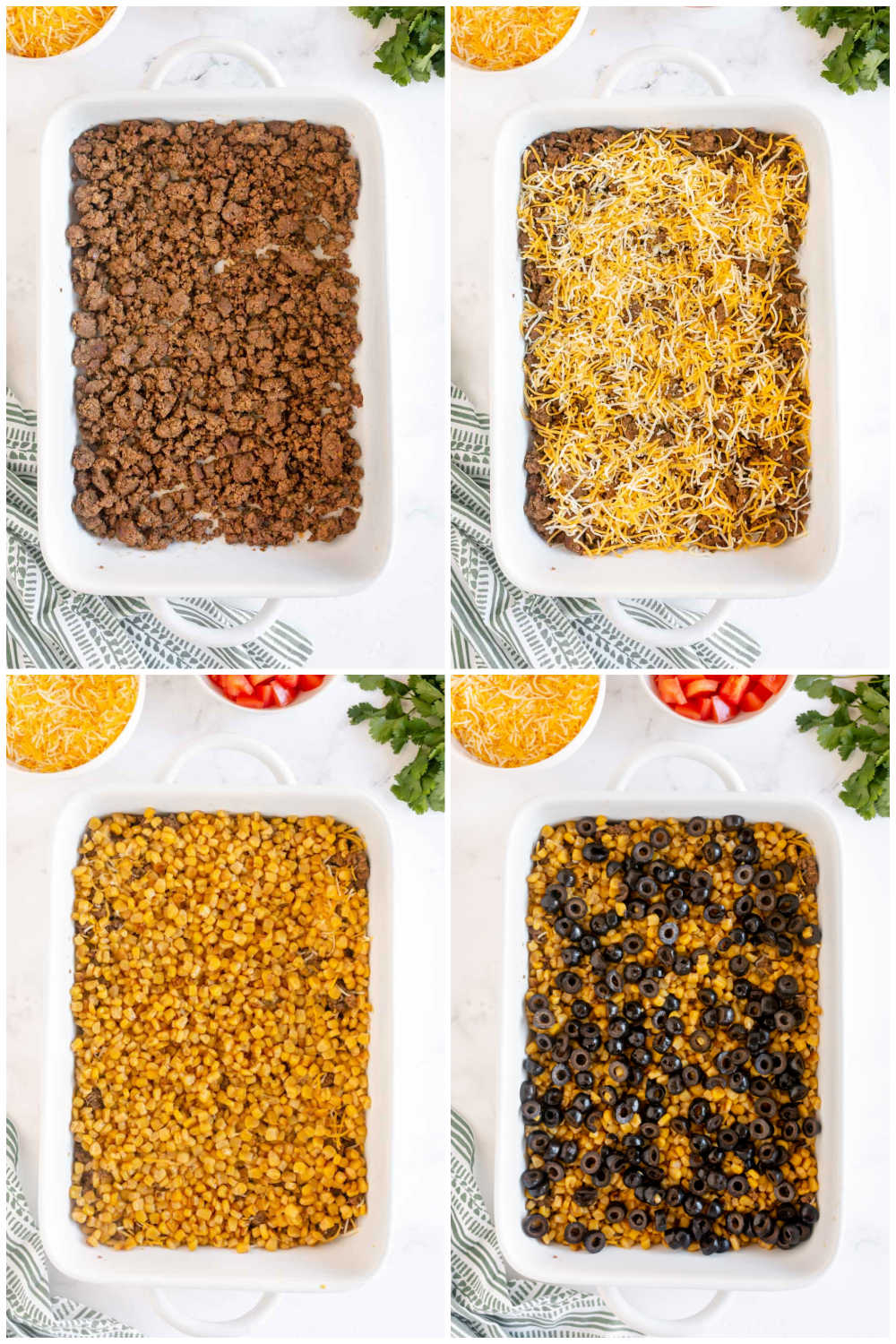 Baking sheet with step by step taco dip photos
