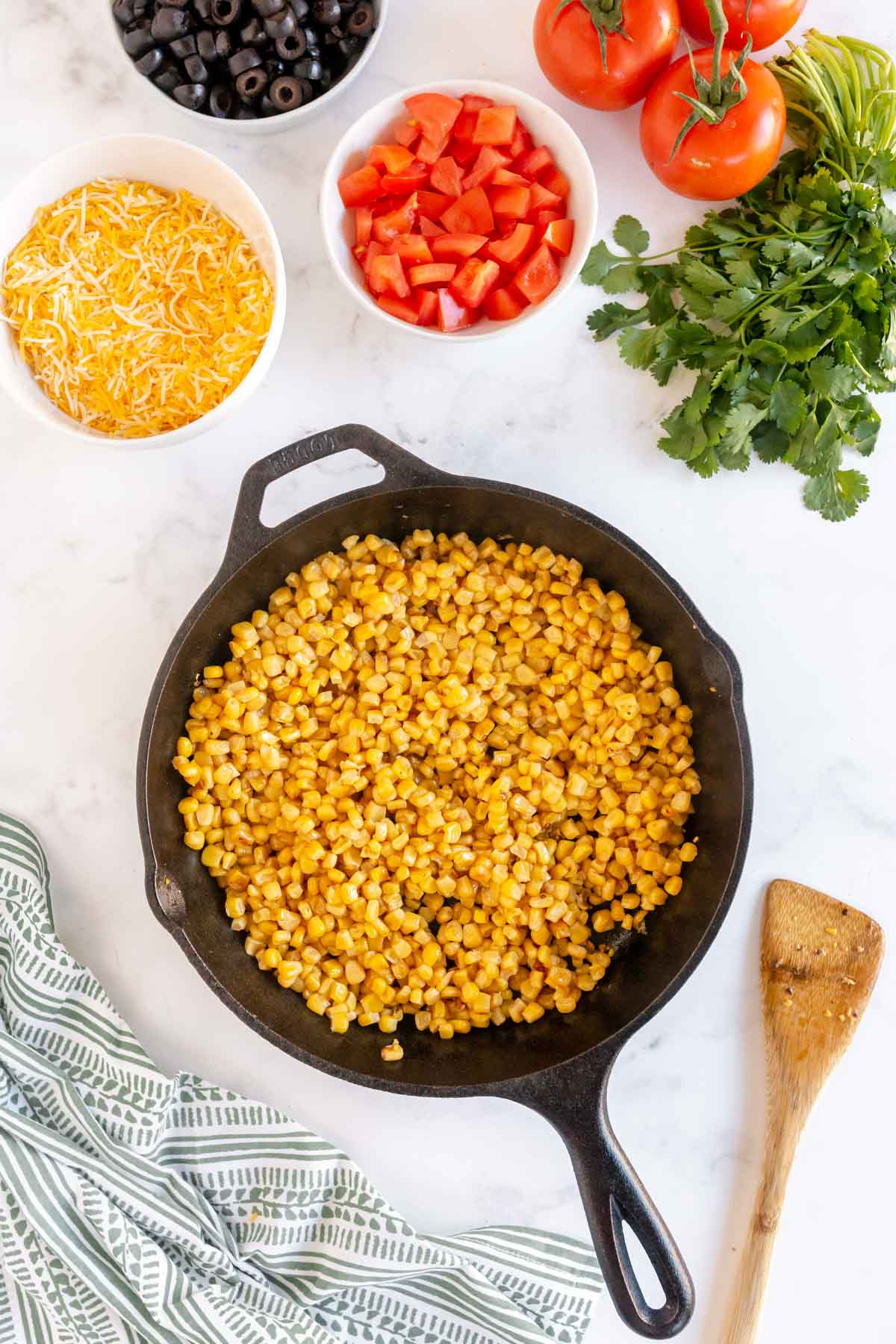 Caramelized corn in a pan