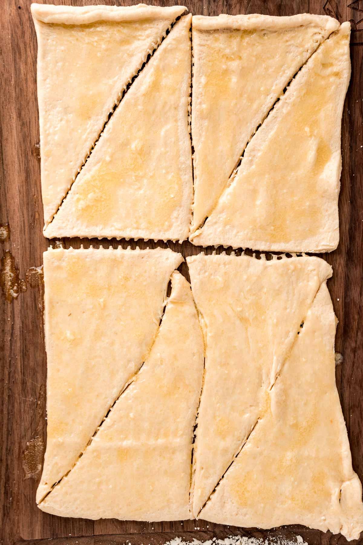 Crescent rolls on a baking sheet