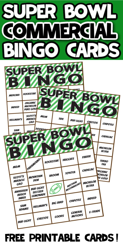 Super Bowl Commercial Bingo cards