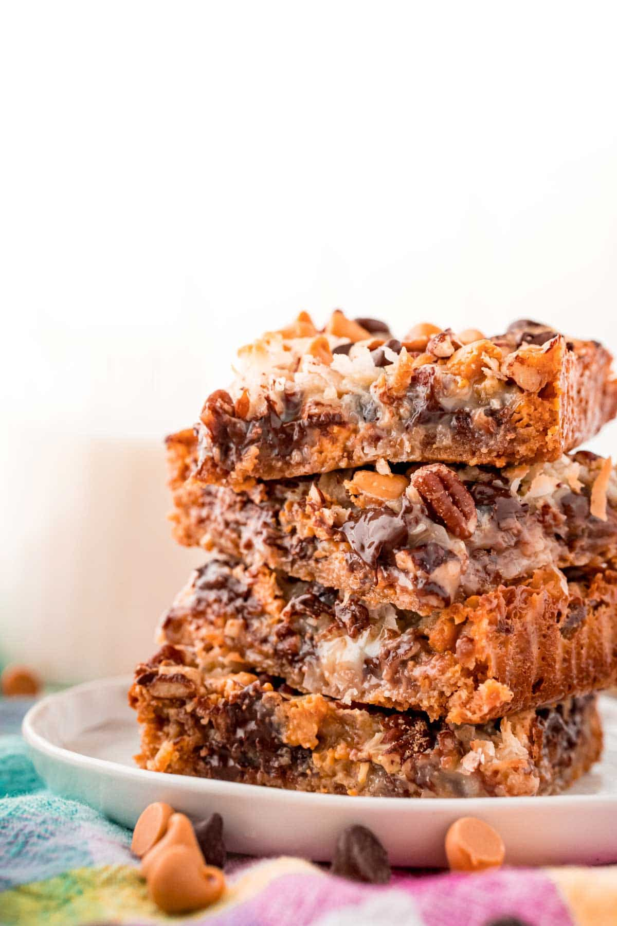 Close up photo of a stack of 7 layer bars